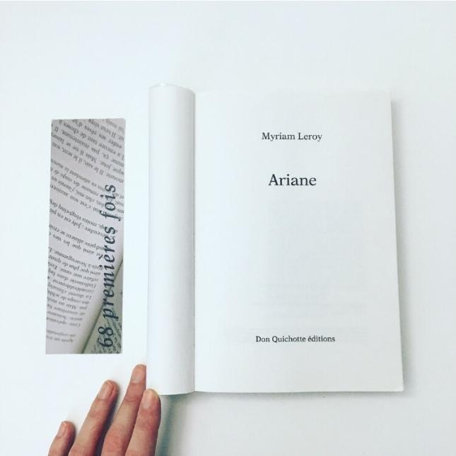 Ariane - Myriam Leroy - Don Quichotte éditions - 68premièresfois